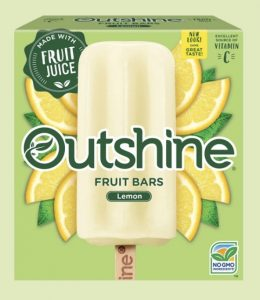 Package of Outshine fruit popsicles, lemon flavor